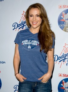 Alyssa Milano in Dodgers t-shirt