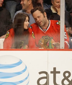 Vince Vaughn at Blackhawks game